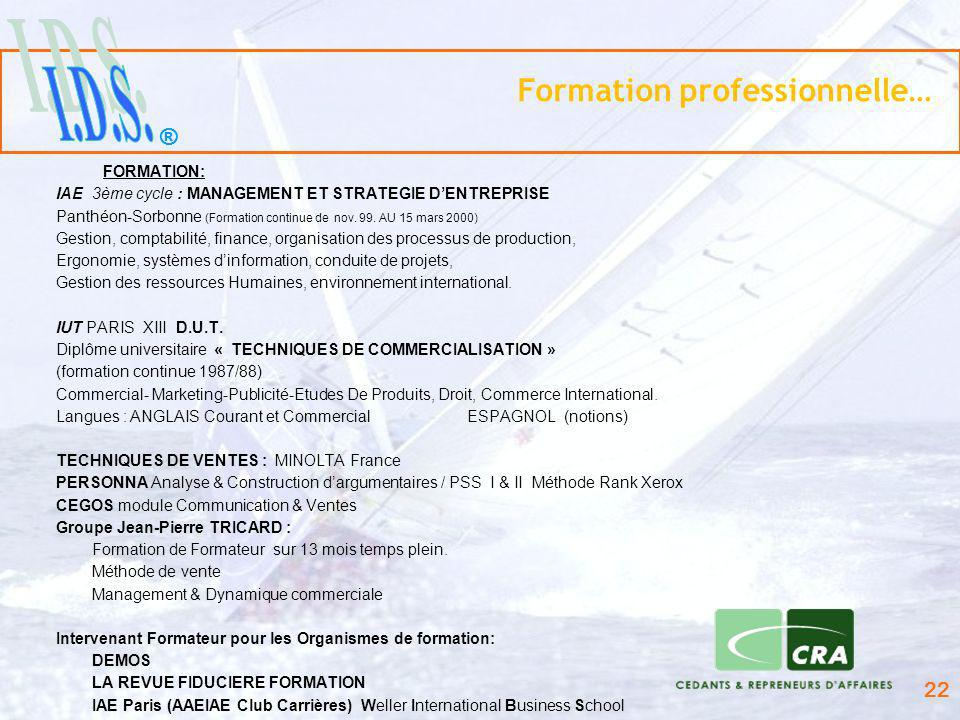 Formation professionnelle…