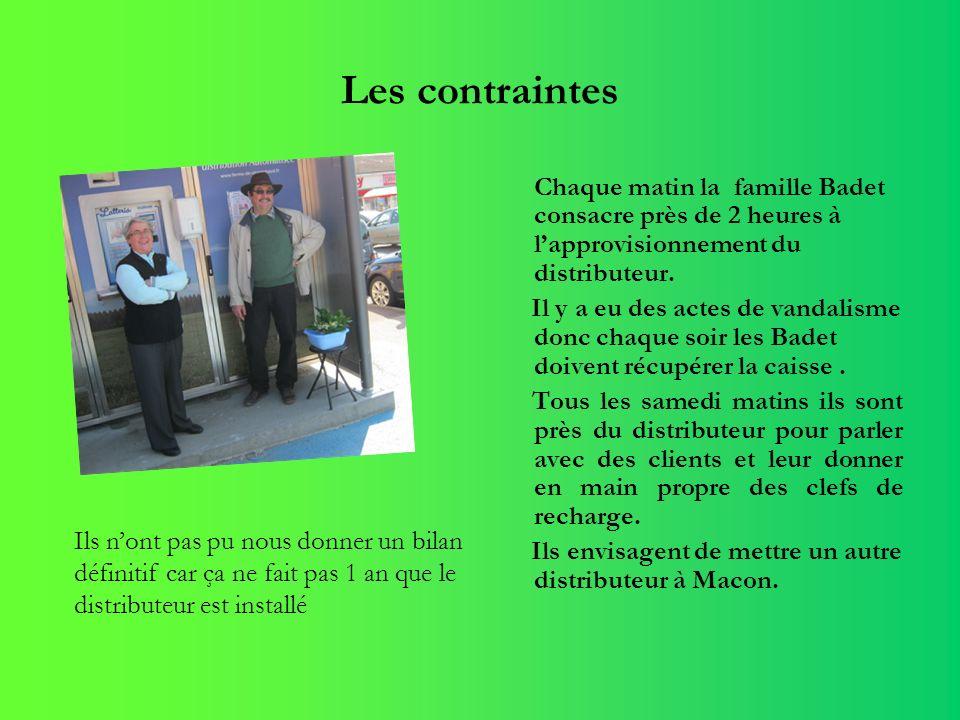Les contraintes Chaque matin la famille Badet consacre près de 2 heures à l'approvisionnement du distributeur.