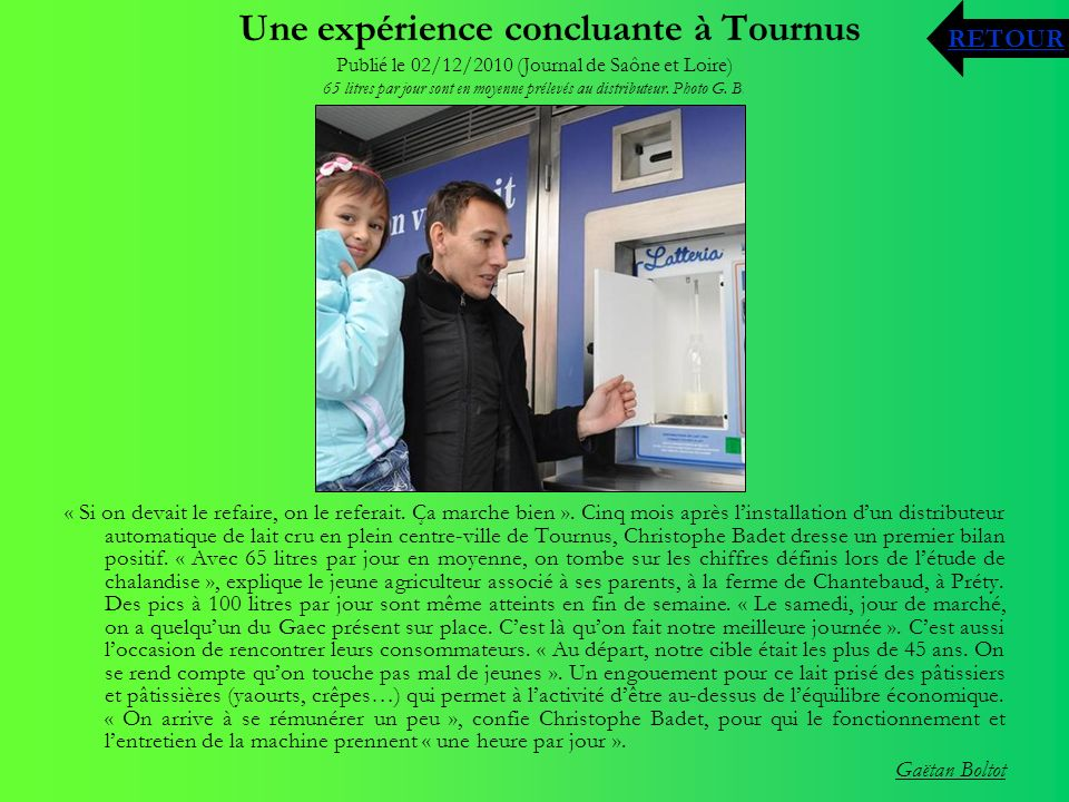 Une expérience concluante à Tournus