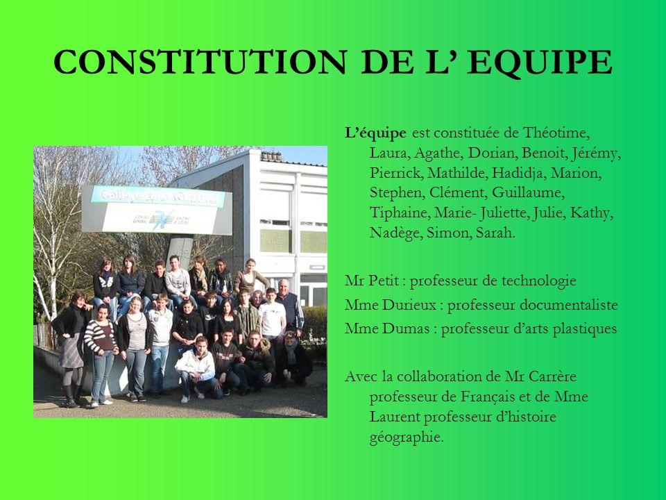 CONSTITUTION DE L' EQUIPE