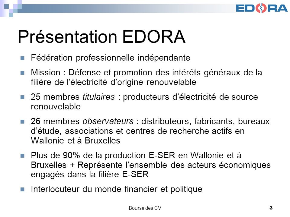 Présentation EDORA Fédération professionnelle indépendante