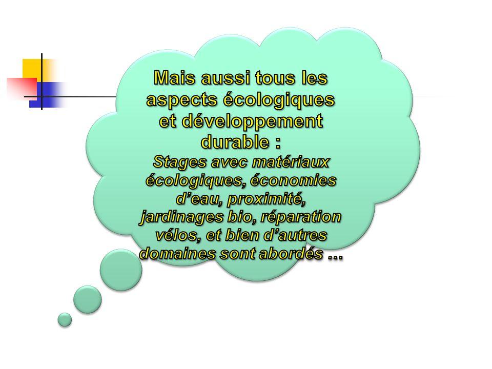 Mais aussi tous les aspects écologiques et développement durable :