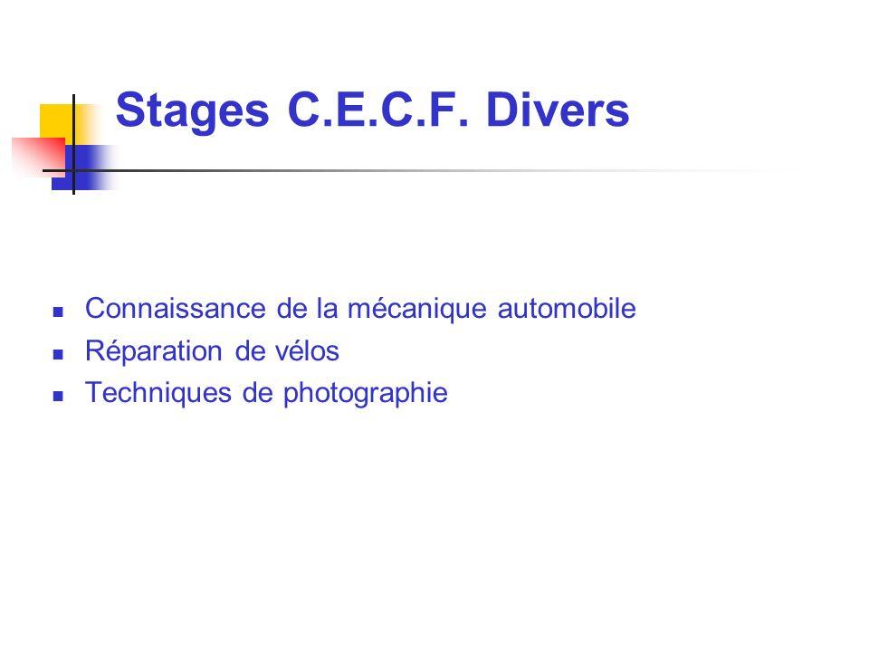 Stages C.E.C.F. Divers Connaissance de la mécanique automobile