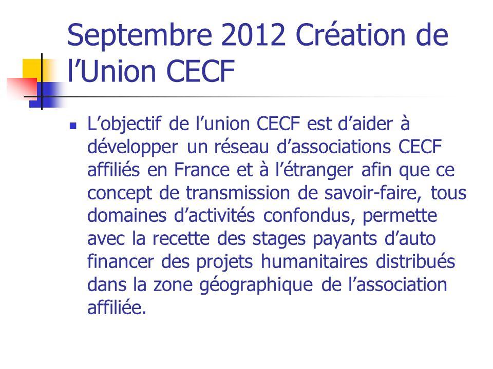 Septembre 2012 Création de l'Union CECF
