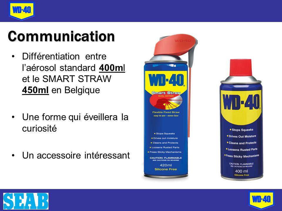 Communication Différentiation entre l'aérosol standard 400ml et le SMART STRAW 450ml en Belgique. Une forme qui éveillera la curiosité.