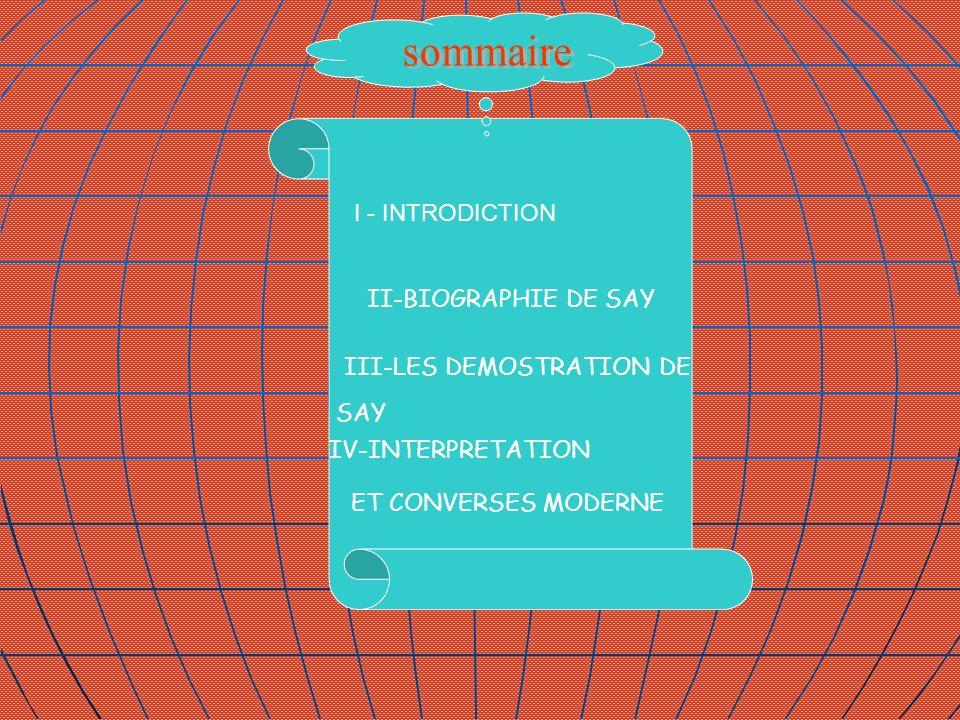 sommaire I - INTRODICTION II-BIOGRAPHIE DE SAY III-LES DEMOSTRATION DE