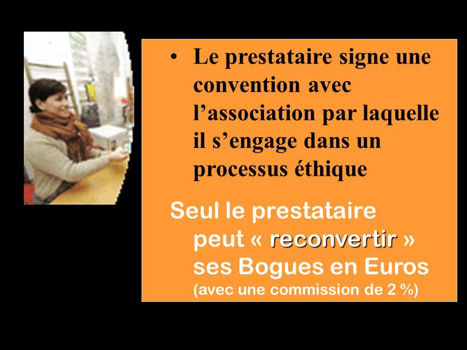 Le prestataire signe une convention avec l'association par laquelle il s'engage dans un processus éthique