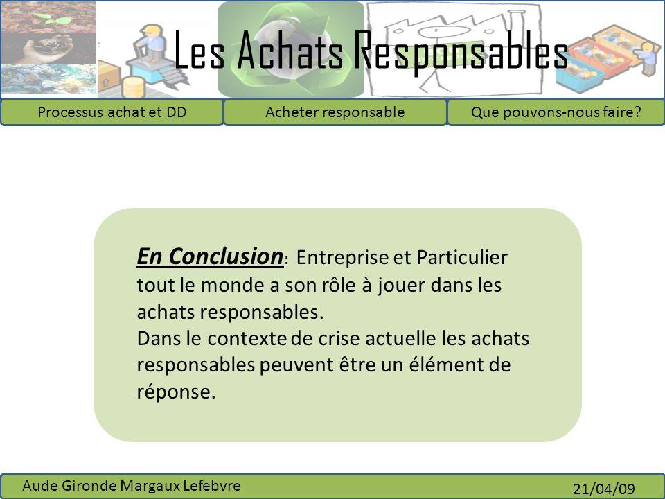 En Conclusion: Entreprise et Particulier tout le monde a son rôle à jouer dans les achats responsables.