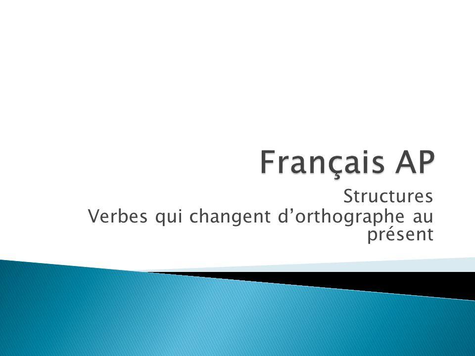 Structures Verbes qui changent d'orthographe au présent