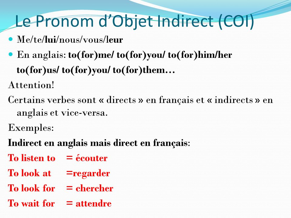 Le Pronom d'Objet Indirect (COI)
