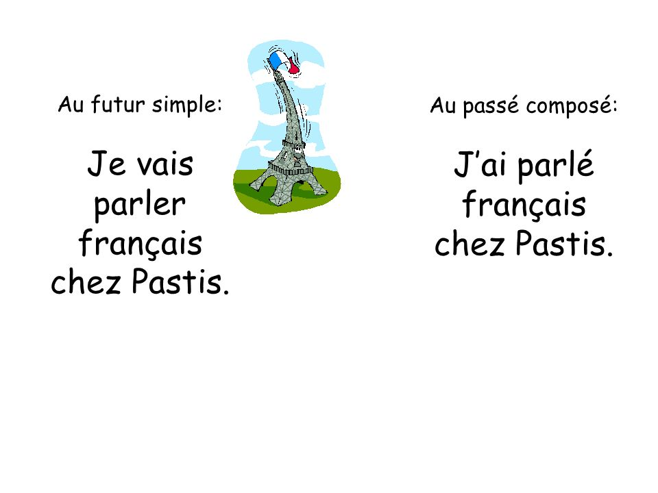 Je vais J'ai parlé parler français français chez Pastis. chez Pastis.