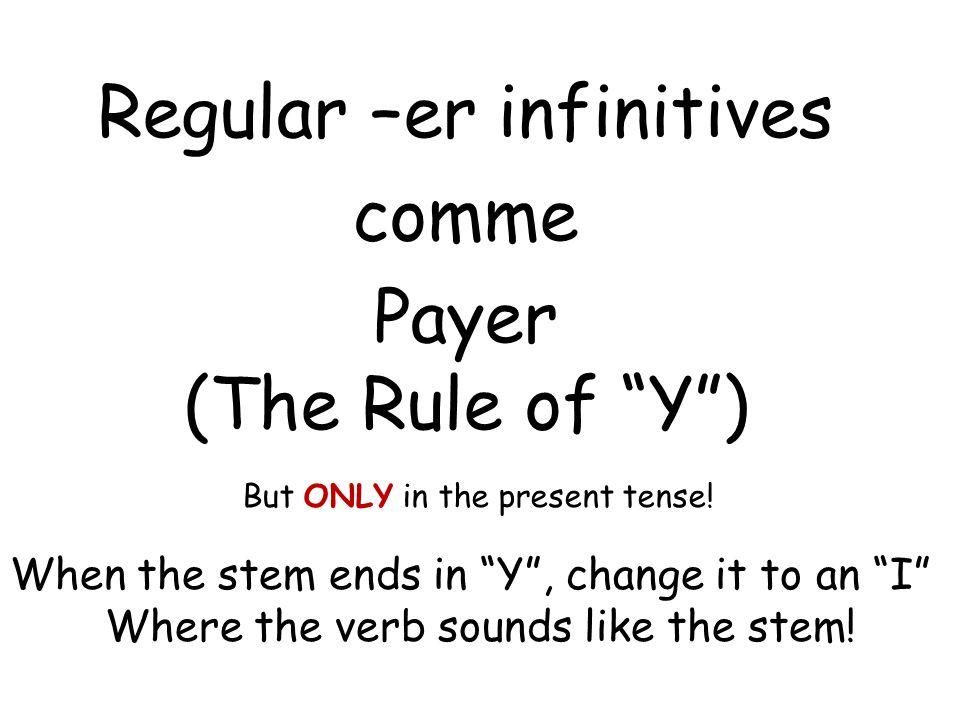 Regular –er infinitives comme Payer (The Rule of Y )