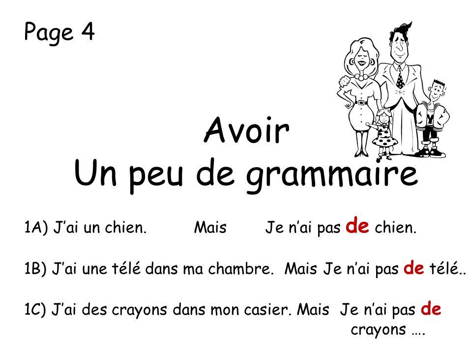 Avoir Un peu de grammaire Page 4