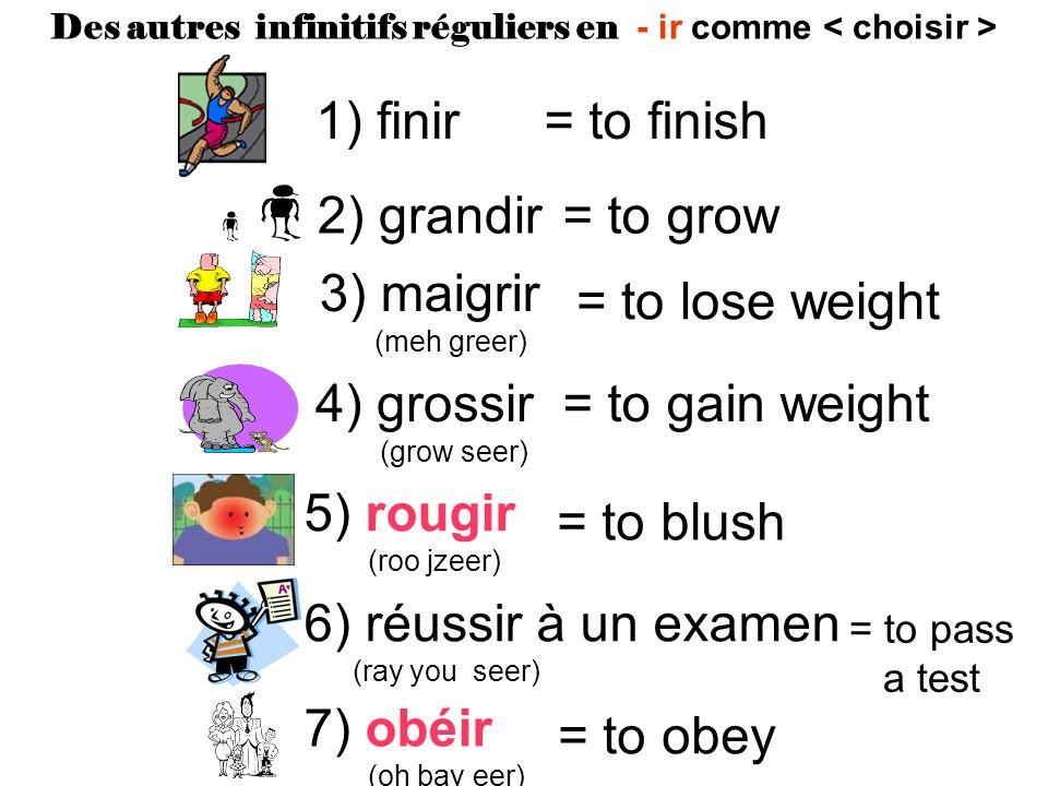 Des autres infinitifs réguliers en - ir comme < choisir >