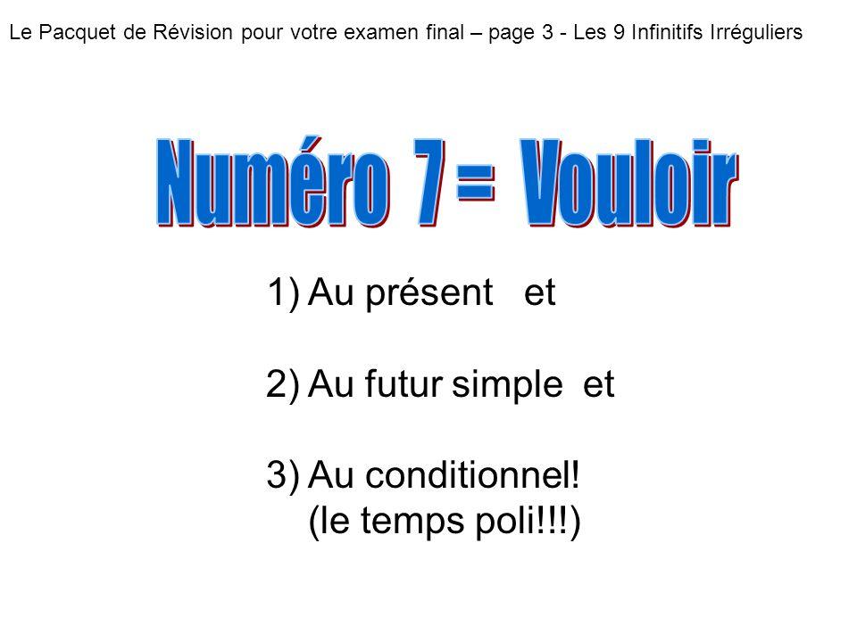 Numéro 7 = Vouloir Au présent et Au futur simple et Au conditionnel!