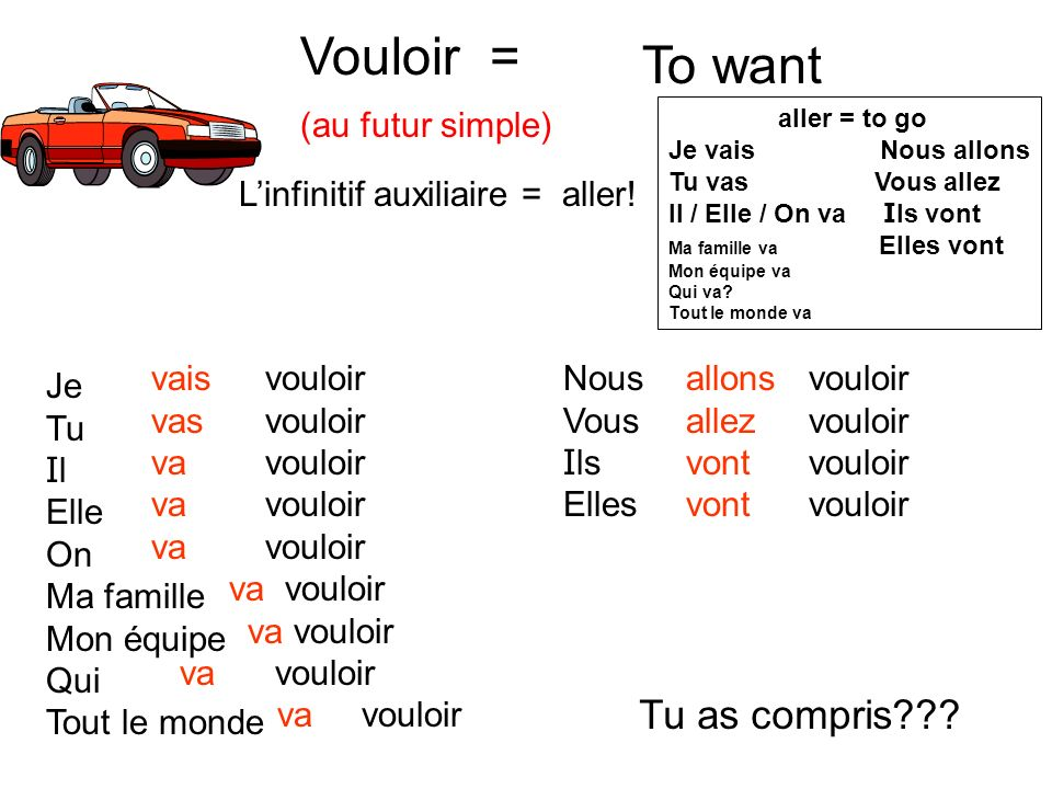 Vouloir = To want Tu as compris (au futur simple)