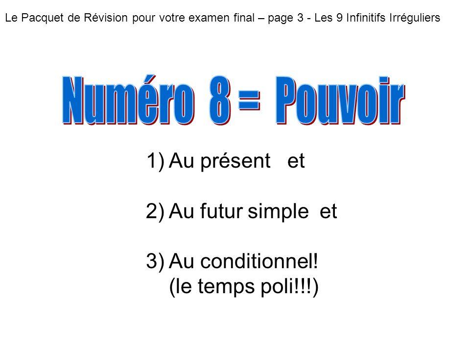 Numéro 8 = Pouvoir Au présent et Au futur simple et Au conditionnel!