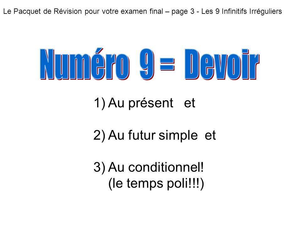 Numéro 9 = Devoir Au présent et Au futur simple et Au conditionnel!