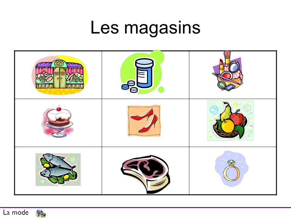 Les magasins Give some of the vocab and ask them to identify the shop. La mode