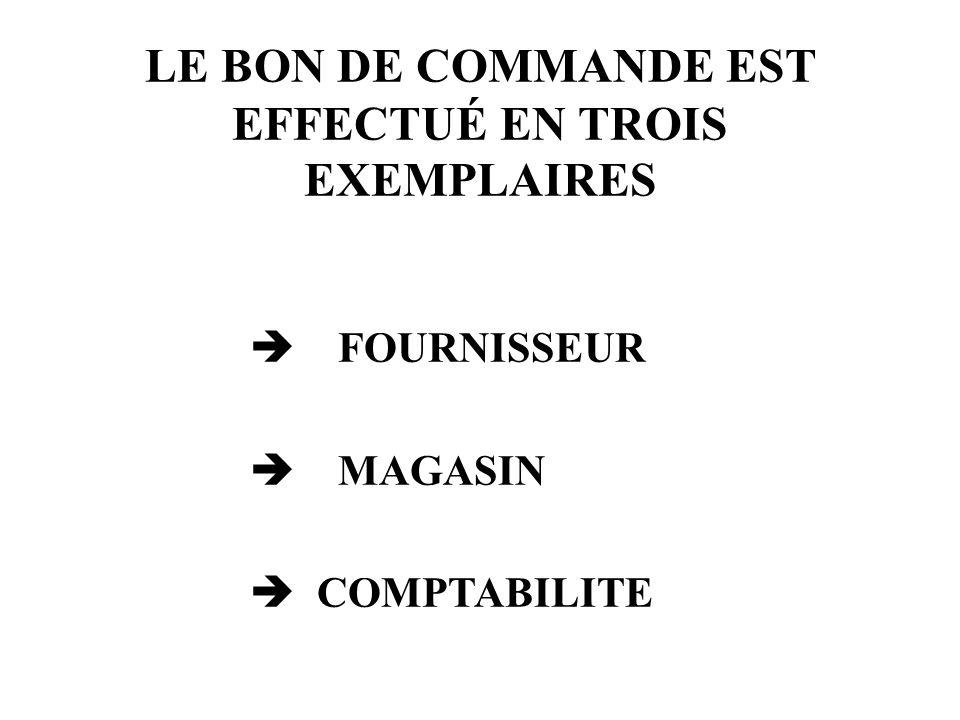 LE BON DE COMMANDE EST EFFECTUÉ EN TROIS EXEMPLAIRES