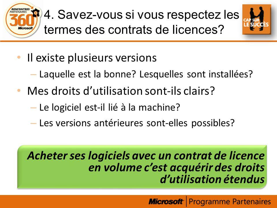 4. Savez-vous si vous respectez les termes des contrats de licences