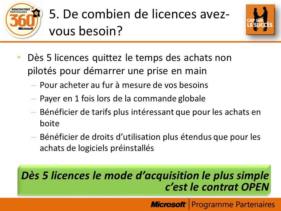 5. De combien de licences avez-vous besoin