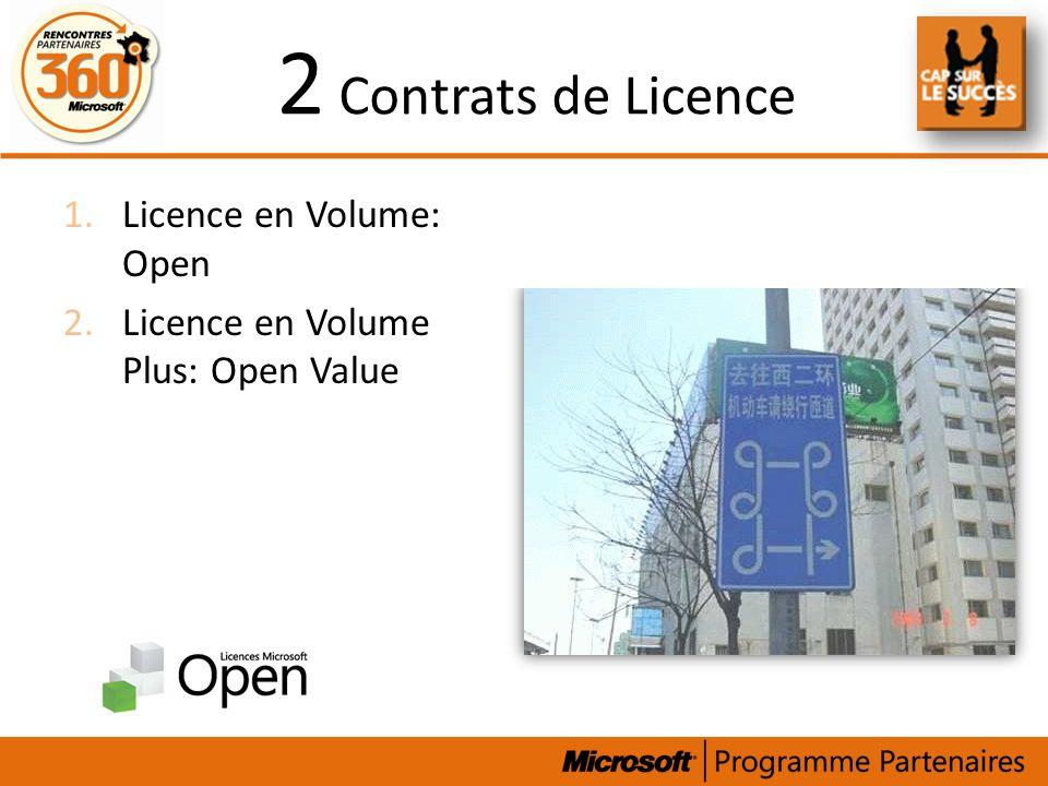 2 Contrats de Licence Licence en Volume: Open