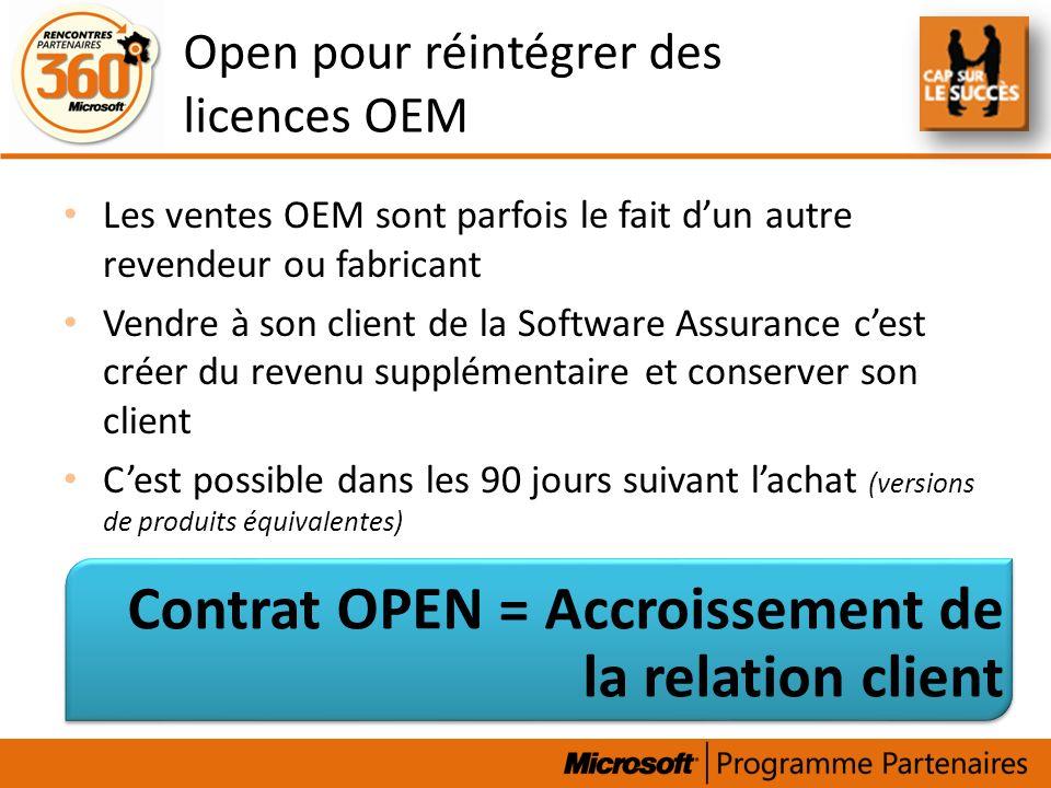 Open pour réintégrer des licences OEM
