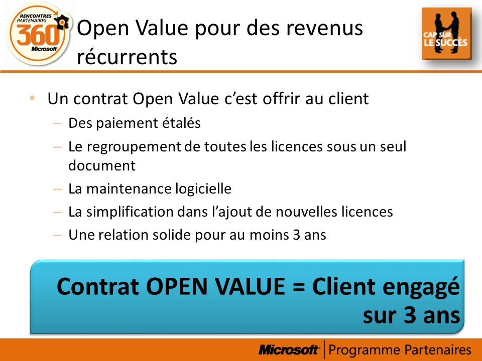 Open Value pour des revenus récurrents