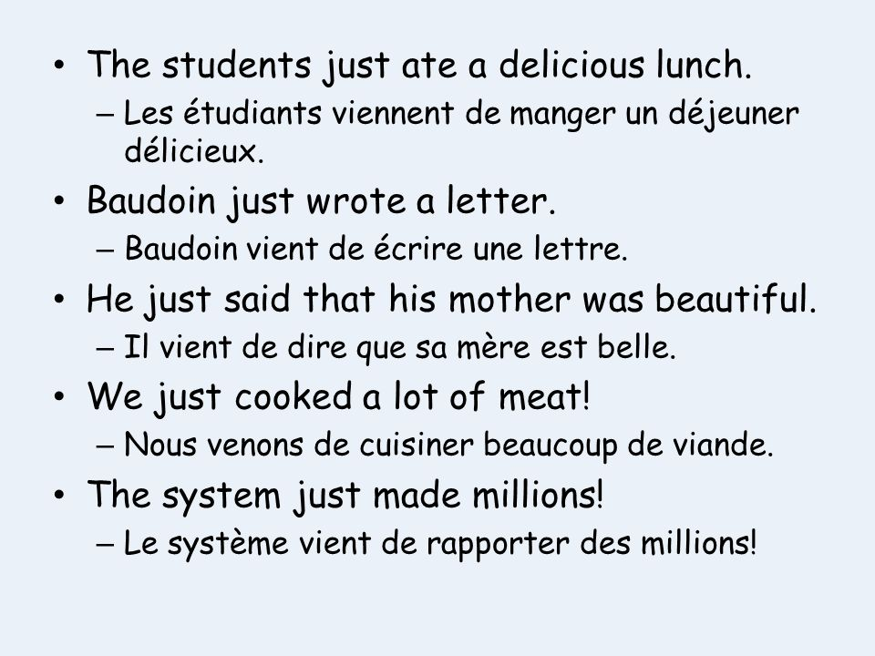 The students just ate a delicious lunch.