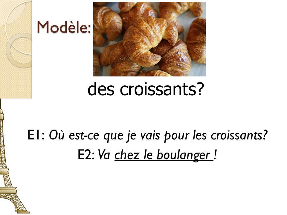 E1: Où est-ce que je vais pour les croissants