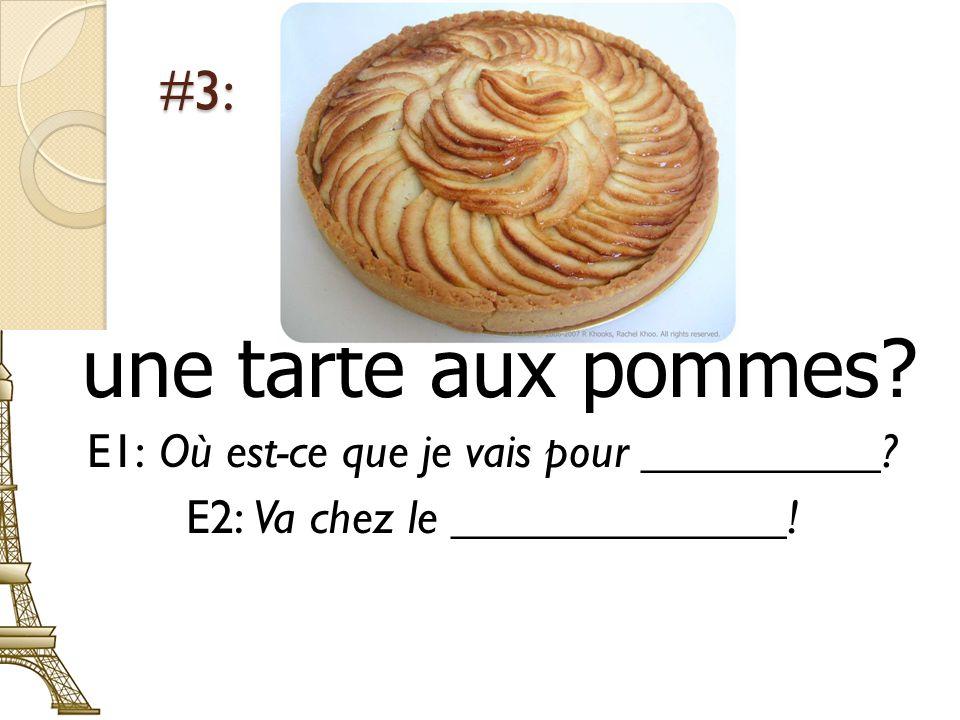 une tarte aux pommes #3: E1: Où est-ce que je vais pour __________