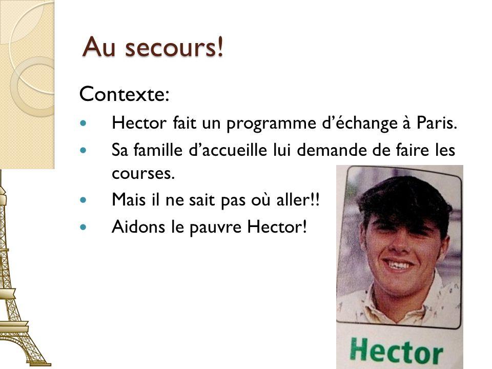 Au secours! Contexte: Hector fait un programme d'échange à Paris.