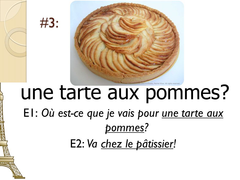 E1: Où est-ce que je vais pour une tarte aux pommes