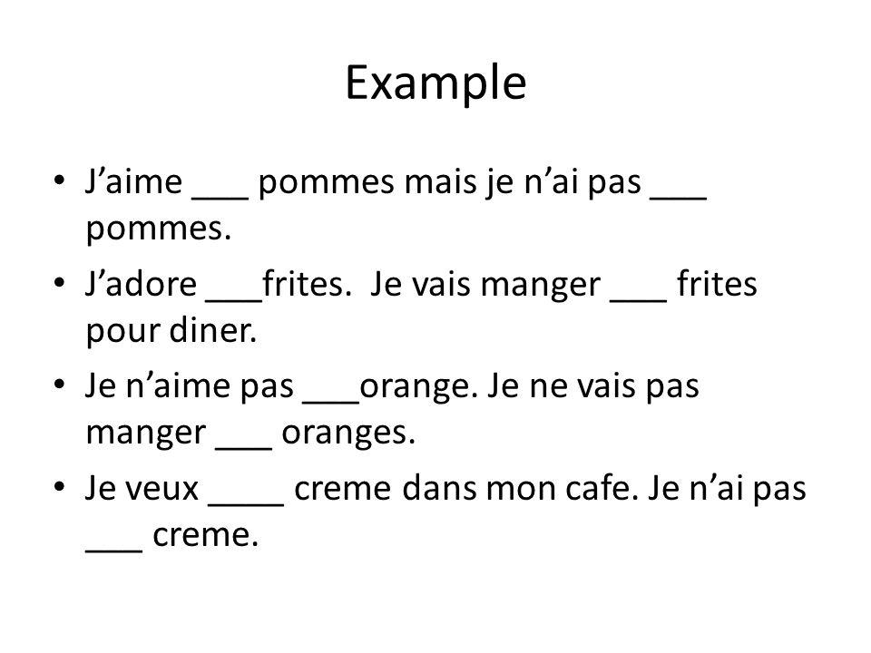 Example J'aime ___ pommes mais je n'ai pas ___ pommes.