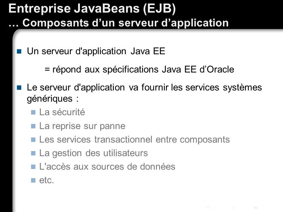 Entreprise JavaBeans (EJB) … Composants d'un serveur d'application