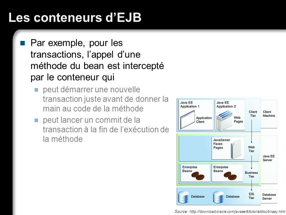 Les conteneurs d'EJB Par exemple, pour les transactions, l'appel d'une méthode du bean est intercepté par le conteneur qui.
