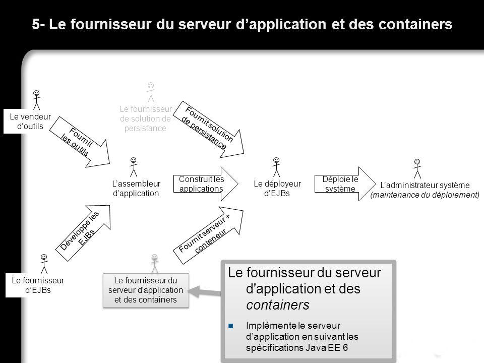 5- Le fournisseur du serveur d'application et des containers