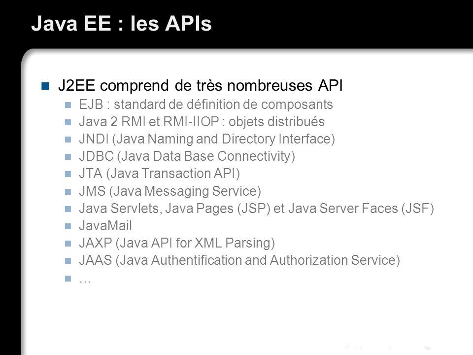 Java EE : les APIs J2EE comprend de très nombreuses API
