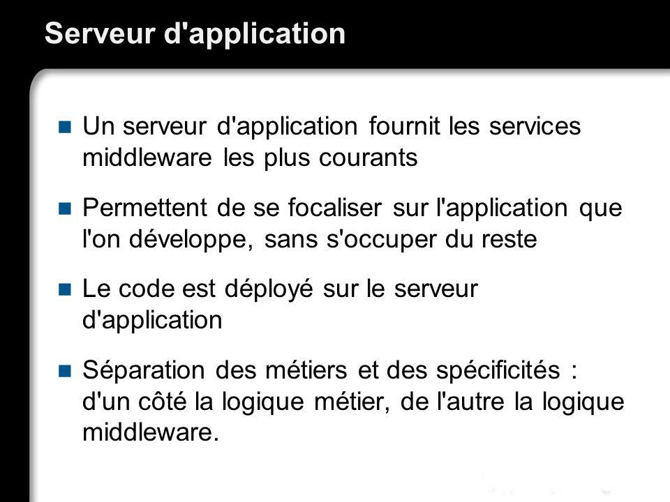 Serveur d application Un serveur d application fournit les services middleware les plus courants.