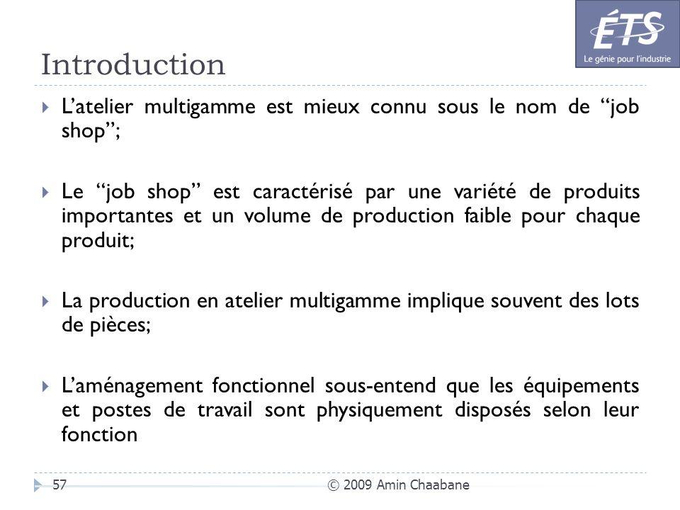 Introduction L'atelier multigamme est mieux connu sous le nom de job shop ;
