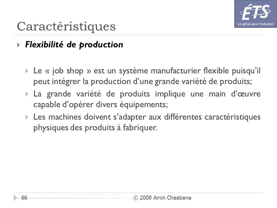 Caractéristiques Flexibilité de production