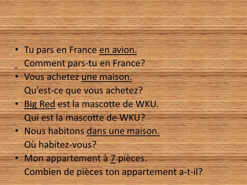 Tu pars en France en avion.