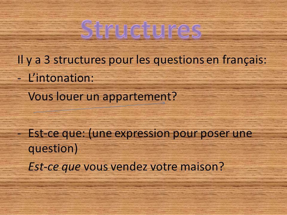 Structures Il y a 3 structures pour les questions en français: