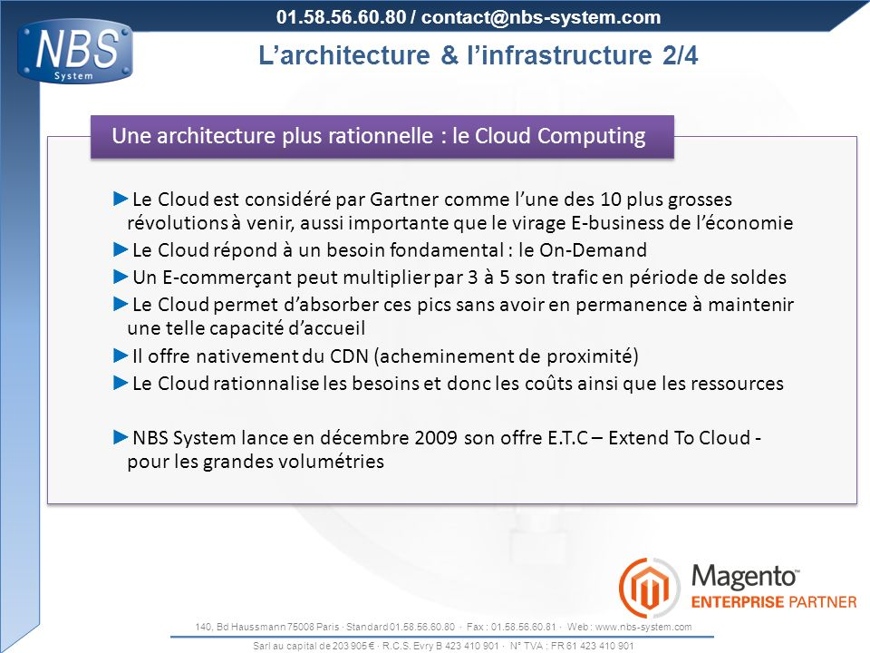 Organisation de la production L'architecture & l'infrastructure 2/4