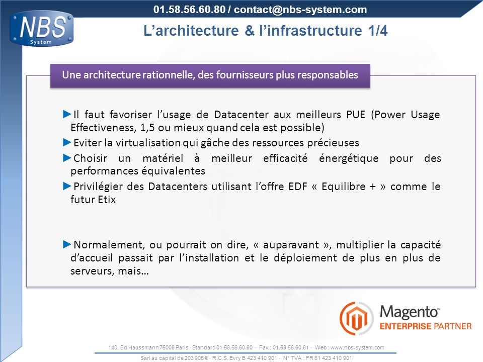 Organisation de la production L'architecture & l'infrastructure 1/4