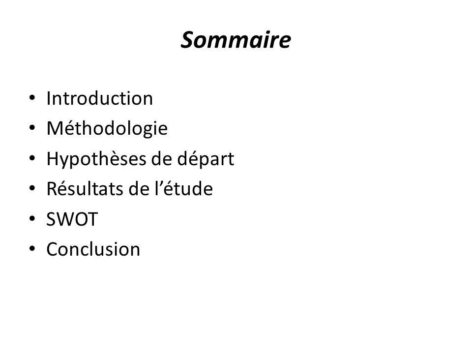 Sommaire Introduction Méthodologie Hypothèses de départ