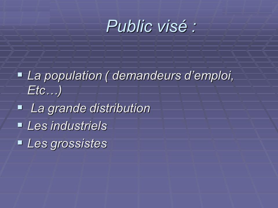 Public visé : La population ( demandeurs d'emploi, Etc…)