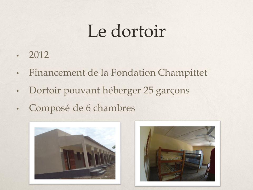 Le dortoir 2012 Financement de la Fondation Champittet
