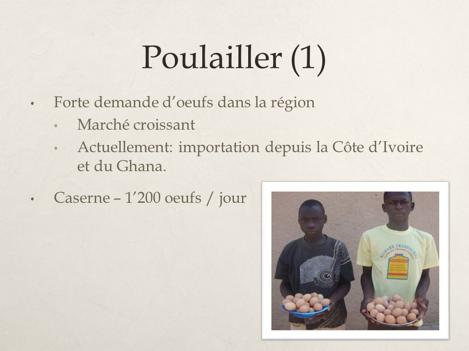 Poulailler (1) Forte demande d'oeufs dans la région Marché croissant